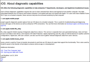 iOS About diagnostic capabilities