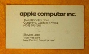 Apple創立時のジョブズの名刺